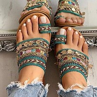 2020 new women's woven handmade open toe flat sandals slippers shoes