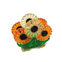 1960s Lucite Napkin Holder - Luba - Daisies - Kitschy Kitchen - Travel Trailer Decor - Orange - Green -