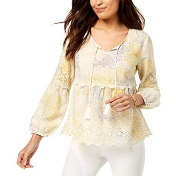 Style & Co Petite Printed Peasant Top Size P/L