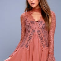 New Tell Tale Rusty Rose Lace Long Sleeve Tunic