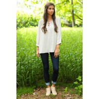 Free And Easy Light Taupe Lace-Up Top