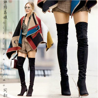 GENSHUO Woman Black Faux Suede Over The Knee Boots Winter Warm Boots Women Sexy Stiletto Slim Fit Stretch Booties Botas Mujer