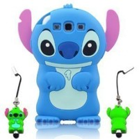 Blue 3d Fixed Ear Flip Stitch & Lilo for Samsung Galaxy S3 III I9300 Android with 3d Stitch Stylus Pen Green green