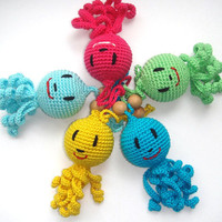 Crochet octopus animal Toy rattle Colorful multicolor Marine Animal Funny bright crochet octopus Teether toy