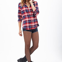 FOREVER 21 Plaid Flannel Pocket Shirt Red/Navy