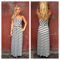 Grey Stripe Modal Maxi Dress