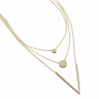 Triple Strand Necklace with CZs 14 karat gold plated