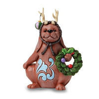 Jim Shore Dog With Wreath And Reindeer Ears Figurine