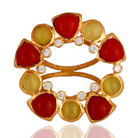 Handmade Yellow Moonstone And Red Coral Cocktail Gold Vermeil Ring With CZ
