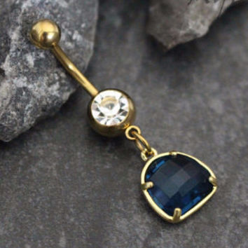 Gemstone Belly Ring in Lapis Lazuli
