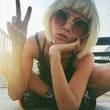 Oversized Round Hippie Sunglasses Vintage Brown Circle Glasses - Janis