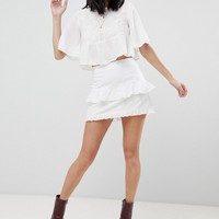 Honey Punch Mini Skirt With Ruffles & Embroidered Stars at asos.com