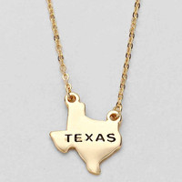 Texas State Plated Pendant Necklace Gold