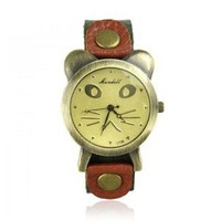 Cute Cat Face Leather Watch — accessoryinlove