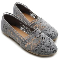 Ollio Womens Shoe Lace Ballet Breathable Flat(6 B(M) US, Gray)