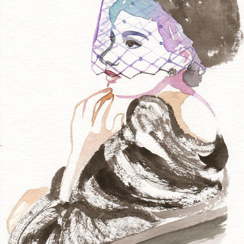 Original watercolor painting The Lady with the Fur Coat Romantic Bird Cage Hat