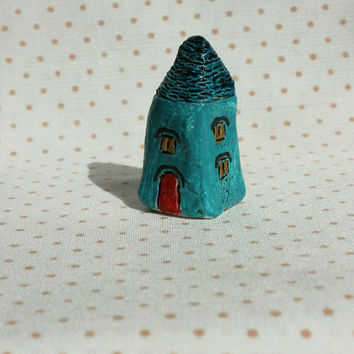 """OOAK small house folk art house miniature house red turquoise brown1 3/5"""""""