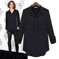 Black Long-Sleeve Collared Blouse With Pocket