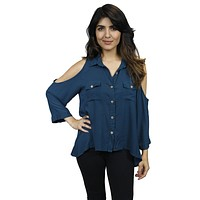 Cold Shoulder Cut Out Buttondown Blouse in Teal