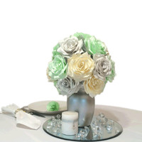Mint Green silver and ivory reception table Centerpieces, Mint green paper floral decor, Bridal shower decorations, Baby shower floral decor