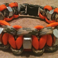 Camo & Hunting Orange Survival Band with hex nuts