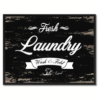 Fresh Laundry Vintage Sign Black Canvas Print Home Decor Wall Art Gifts Picture Frames