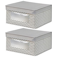 InterDesign Chevron Fabric Closet/Dresser Drawer Storage Organizer, Box for Clothing, Shoes, Handbags, Jeans - Set of 2, Large, Taupe/Natural
