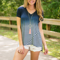 Fading In Stripes Top, Navy