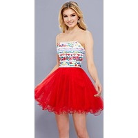 Floral Embroidered Top Strapless Short Prom Dress Red
