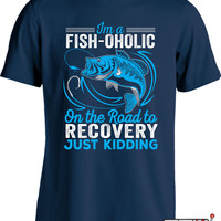 Fishing Shirts For Men Fisherman T Shirt Fishing Gifts For Him Fishing Presents Fishaholic On The Road To Recovery T Shirt Mens Tee MD-669