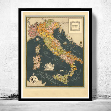 Old Map of Italy Pictorial Map italia