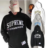 SUPREME Simple Fashion Print Long Sleeve Top Sweater Pullover Hoodie