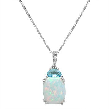 Created Opal with Blue Topaz and Diamond Pendant-Necklace in Sterling Silver