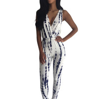 Women Ladies Sleeveless Deep V- Neck Jumpsuit Romper Trousers Bodycon Clubwear Party Playsuit SM6