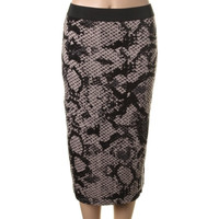 RD Style Womens Matte Jersey Snake Print Pencil Skirt