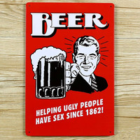 """Hot sales """"BEER HELPING UGLY PEOPLES"""" Tin signs movie poster Art House Cafe Bar Vintage Metal Painting wall stickers home decor"""