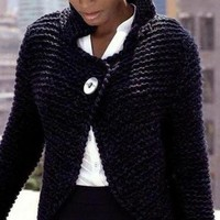 Hand Knit Jacket from bulky Merino Blend Wool Pick your color