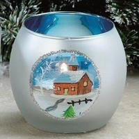 Christmas Scene Ornament Glass Tea Light Candle Holders, Set of 6 - Candle Holders - Home Accessories