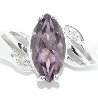 2 Carat Alexandrite Marquise Diamond Ring .925 Sterling Silver Rhodium Finish White Gold Quality