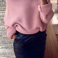 New Women Pink Plain Irregular Boat Neck Fashion Pullover Sweater