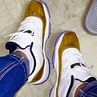 Air Jordan 11 Classic Men Women Casual Sneakers Sport Basketball Shoes White&Golden