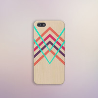 Mint x Pink Bright Wood Chevron Case for iPhone 5 iPhone 5S iPhone 4 iPhone 4S and Samsung Galaxy S5 S4 & S3