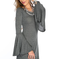 Casual Cute Charcoal Flare Long Sleeves Sweater Dress