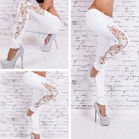 Hollowed out lace design skinny jeans ~ 2 colors
