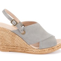 Oltrera Suede Espadrille Wedge Mules - Ash Grey
