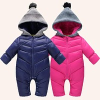 born Baby Rompers Winter Thick Cotton Boys Costume Girls Warm Clothes Kid Jumpsuit Children Outerwear Baby Wear
