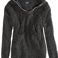 AEO Women's Cable Knit Sweater Hoodie