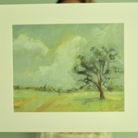Oil Painting, Landscape Painting Print, Farm Painting, 8x10 Art Print, Farmhouse Decor, Tree Painting, Country Landscape, Scenic Painting