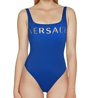 VERSACE Women Hot Letter Print Vest Type One Piece Bikini Swimsuit Bodysuit