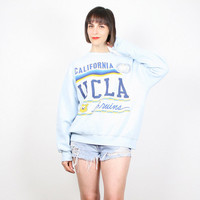 Vintage 80s Sweatshirt UCLA Bruins Sweater Pastel Blue Light Blue Tshirt Pullover Jumper Screen Print Football Basketball College L Large XL